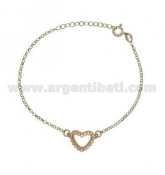 ROLO BRACELET &39HEART SHAPE WITH ZIRCONIA SILVER PLATED ROSE GOLD AND RHODIUM TIT 925 ‰ CM 18