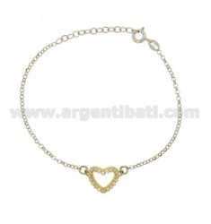 ROLO BRACELET &39HEART SHAPE WITH ZIRCONIA SILVER AND GOLD PLATED RHODIUM TIT 925 ‰ CM 18