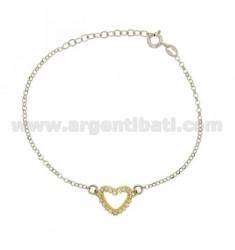 ROLO PULSERA &39en forma de corazón con Circonita Plata y Oro Plateado Rodio TIT 925 ‰ CM 18