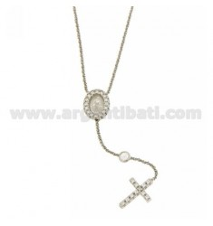 ROSARY NECKLACE 50 CM DISC WITH MADONNA AND CROSS WITH ZIRCONIA SILVER RHODIUM TIT 925