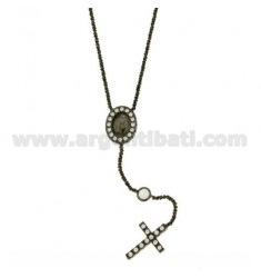 ROSARY NECKLACE 50 CM DISC WITH MADONNA AND CROSS WITH ZIRCONIA SILVER PLATED RUTENIO TIT 925