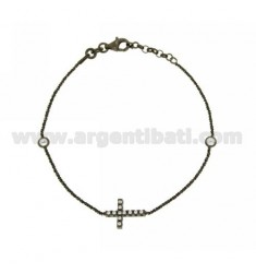 BRACELET DISCO 18 CM WITH CROSS WITH ZIRCONIA SILVER PLATED RUTENIO TIT 925