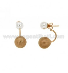 EARRINGS DOUBLE BALL MM 7.12 SILVER PLATED ROSE GOLD 925 ‰ TIT AND PEARL
