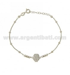 CABLE BRACELET WITH ALTERNATE BALLS 3 MM AND CENTRAL OWL 10 MM WITH ZIRCON PAVES IN AG RHODIUM-PLATED 18 CM EXTENDABLE TO 20