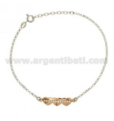 ROLO BRACELET &39DIAMOND HEART WITH ZIRCONIA IN AG RHODIUM AND GOLD PLATED PINK TIT 925 ‰ CM 17.20