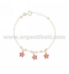 ROLO GIRL BRACELET WITH BEADS AND FLOWERS ENAMELED IN SILVER TIT 925 ‰ CM 15-18