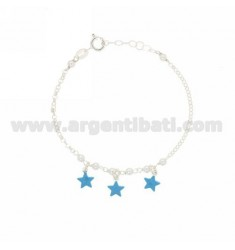 ROLO GIRL BRACELET WITH BEADS AND STARS ENAMELED SILVER TIT 925 ‰ CM 15-18
