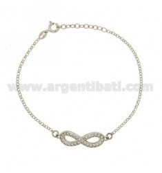 ROLO BRACELET WITH INFINITY WITH ZIRCONIA 29X9 MM IN 925 RHODIUM-PLATED SILVER 18 CM