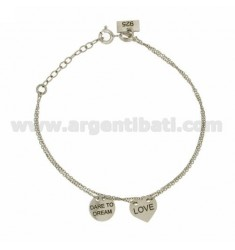 CHAIN CABLE MICRO CM 45 WITH HEART LOVE AND ROUND DARE TO DREAM IN SILVER RHODIUM TIT 925 ‰