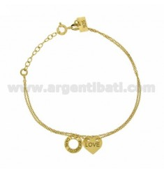 CHAIN CABLE MICRO CM 45 WITH HEART LOVE AND ROUND TRAFORATO DARE TO DREAM IN GOLD PLATED TIT 925 ‰