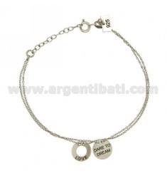 BRACELET MICRO CABLE 45 CM WITH ROUND TRAFORATO LOVE AND DARE TO DREAM IN GOLD PLATED TIT 925 ‰