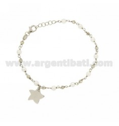 BRACELET PEARLS AND BALLS WITH STAR SILVER RHODIUM TIT 925 ‰ CM 20