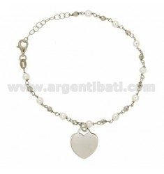 BRACELET PEARLS AND BALLS WITH HEART IN SILVER RHODIUM TIT 925 ‰ CM 20