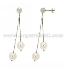 EARRINGS COBRA PEARL AND HANDS IN SILVER RHODIUM TIT 925 ‰