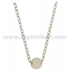 CABLE NECKLACE WITH CENTRAL ROUND 15 MM SILVER RHODIUM TIT 925 CM 44