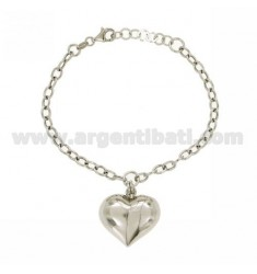 CABLE BRACELET WITH PENDANT HEART BOMBATO SILVER RHODIUM TIT 925 ‰ CM 18
