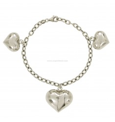 CABLE BRACELET WITH PENDANT 3 HEARTS DOMED SILVER RHODIUM TIT 925 ‰ CM 18
