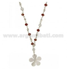 NECKLACE 44 CM WITH STONES HYDROTHERMAL, BALL WITH CRYSTAL AND FLOWER SILVER RHODIUM TIT 925 ‰