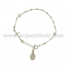 BRACELET WITH BALLS CHAPLET CM 18 MM 3 AND BALLS WITH STRASS 5 MM SILVER RHODIUM TIT 925 ‰ E ZIRCONS
