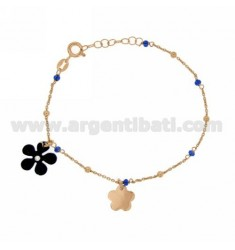 CABLE BRACELET CM 17.19 WITH STONE BALLS MM 2 AND BUTTERFLY GLAZED WHITE SILVER PLATED ROSE GOLD 925 ‰ TIT AND STRASS