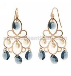 EARRINGS SILVER PLATED ROSE GOLD 925 ‰ TIT AND BLUE STONES HYDROTHERMAL