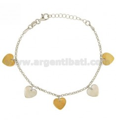 ROLO BRACELET 'DIAMOND WITH HEARTS PLATE PENDANTS IN SILVER RHODIUM-PLATED AND GOLD-PLATED TIT 925 ‰ CM 17-19