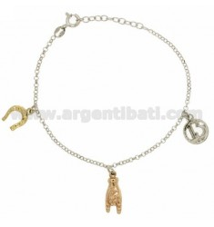 DIAMOND supersticioso ROLO PULSERA &39CON PENDIENTES EN PLATA RODIO, CHAPADO ORO Y ROSE GOLD 925 ‰ TIT CM 17.19