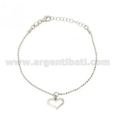 BRACELET WITH HEART BALL faceted MM 1.5 TRAFORATO PENDANT SILVER RHODIUM TIT 925 ‰ CM 17.19