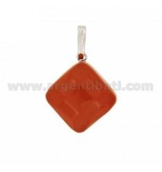 PENDANT DIAMOND PASTE CORAL RED 17x17 MM SILVER RHODIUM TIT 925 ‰