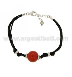 BRACELET CERATA SILK, BALL PASTE CORAL RED 14 MM AND ZIRCONIA SILVER TIT 925 ‰ CM 17.21