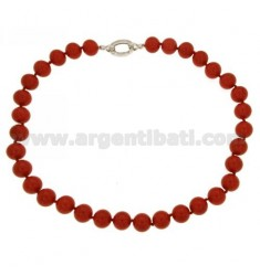 PASTE RED CORAL NECKLACE 12 MM 48 CM IN SILVER 925 ‰ TIT AND ZIRCONIA