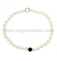 PEARLS NECKLACE 12 MM SILVER RHODIUM TIT 925 ‰ CM 48 AND STRASS