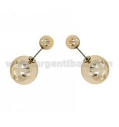 EARRINGS DOUBLE BALL COLOR COPPER AND 16 MM 7 METAL