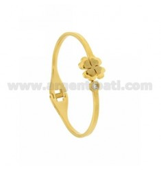 BANGLE STEEL GOLD PLATED with shamrocks AND STRASS