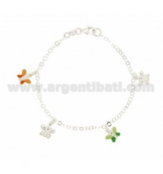 ROLO BRACELET 'BEAT WITH 4 PENDANTS &quotBUTTERFLY&quot ENAMELED IN SILVER TIT 925 ‰ CM 18