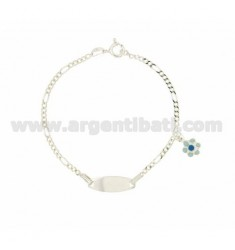 BRACELET 3 1 15 CM WITH PLATE AND GLAZED FIORELLINO PENDANT SILVER TIT 925