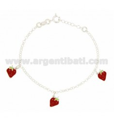 ROLO BRACELET 'WITH PENDANTS 3 STRAWBERRIES ENAMELED SILVER TIT 925 CM 16 EXTENDABLE TO 18