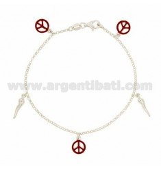 ROLO BRACELET 'WITH PENDANTS 5 BETWEEN HORN AND SYMBOL OF PEACE ENAMELED IN SILVER TIT 925 CM 18