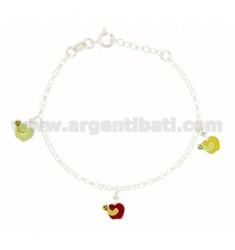 ROLO BRACELET 'WITH PENDANTS 3 APPLES ENAMELED SILVER TIT 925 CM 16 EXTENDABLE TO 18