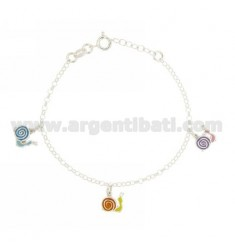 ROLO BRACELET 'WITH PENDANTS 3 SNAILS ENAMELED SILVER TIT 925 CM 16 EXTENDABLE TO 18