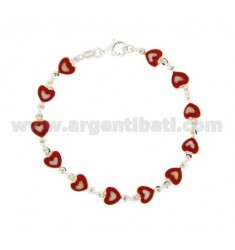 BRACELET IN LINE WITH HEARTS MOULDED ENAMELLED SILVER TIT 925 CM 18