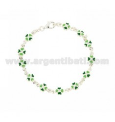 BRACELET IN LINE WITH HEARTS shamrocks ENAMELLED SILVER TIT 925 CM 18