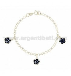ROLO BRACELET 'WITH PENDANTS 3 ENAMELED BALLS IN SILVER TIT 925 CM 16 EXTENDABLE TO 18