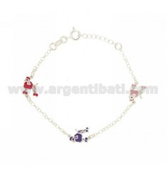 ROLO BRACELET WITH PARTITIONS 3 DOGS ENAMELED IN SILVER TIT 925 CM 13 EXTENDABLE TO 13-17