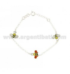 ROLO BRACELET WITH PARTITIONS 3 APINE ENAMELED SILVER TIT 925 CM 13 EXTENDABLE TO 13-17