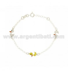 ROLO BRACELET WITH PARTITIONS 3 ENAMELED DUCKS IN SILVER TIT 925 CM 13 EXTENDABLE TO 13-17