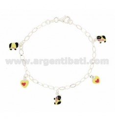 DIAMOND BRACELET COP WITH PENDING BETWEEN 5 HEARTS AND COWS boxed ENAMELLED SILVER TIT 925 CM 18