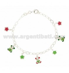 PENDING WITH DIAMOND BRACELET COP 7 BETWEEN FLOWERS AND BEARS MOULDED ENAMELLED SILVER TIT 925 CM 18