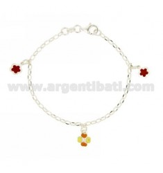 ROLO BRACELET OVAL WITH PENDING 3 AMONG FLOWERS AND CLOVER ENAMELLED SILVER TIT 925 CM 18