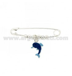 Safety Pin SILVER 925 ‰ TIT WITH DOLPHIN GLAZED